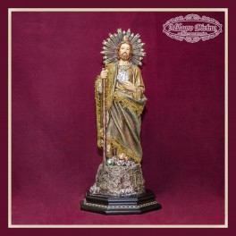 San Judas  manto tipo tela 46 cm verde