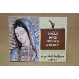 Retablo madera Virgen Guadalupe con oraciones para los alimentos